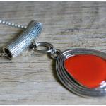 Collier Sautoir Rouge Argent Chaîne Pendentif Long Plastron