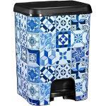 COM-FORT HOUSE | Poubelle avec pédale | Capacité de 26 litres | Décoration | Couleur noir et blanc | Poubelle de cuisine (Alhambra)