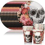 COM-FOUR® 24 Ensemble de tasses et assiettes, vaisselle jetable pour la fête d'Halloween, anniversaire, fête à thème (024 pièces - service de table)