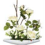 Composition Florale Rose 36cm Blanc - Paris Prix