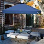 Costway 2.4 x 2.4M Tonnelle de Jardin Imperméable Tube en Fer avec Piquet de Terre 4 Sacs de Sable Bleu