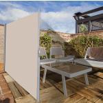Costway Brise-vue Rétractable en Aluminium 1,8 x 3M (H x L) Store Latéral pour Bureau Balcon Terrasse 280g/m² Beige