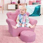 Costway Canapé Princesse pour Enfants Dossier Haut Fauteuil avec Repose-Pieds Rose