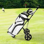 Costway Chariot de Golf à 2 Roues Pliable avec Emplacements pour 4 Tees 4 Balls et Tableau de Score Facile à Ranger et Transporter