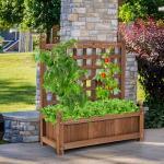 Costway Jardinière avec Treillis Bois Bac à Fleurs Rectangulaire pour Jardin Terrasse Cour 64,5 x 28 x 75 cm