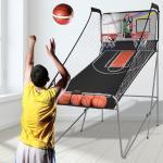 COSTWAY Jeu de Basketball Arcade Panier Compteur Basketball Panier de Basketball Arcade Blanc et Noir 202 x 107 x 205 cm en Acier