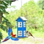 Costway Mangeoire à Oiseaux Étanche en Forme de Maison Capacité 2L pour Jardin Bleu