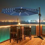 Costway Parasol Déporté 3M avec 35 LED Panneau Solaire Rotation à 360° en Aluminium Base Croisée et Housse de Protection pour Jardin Bleu