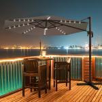 Costway Parasol Déporté 3M avec 35 LED Panneau Solaire Rotation à 360° en Aluminium Base Croisée et Housse de Protection pour Jardin Marron