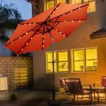 Costway Parasol Déporté en Métal de Haute Qualité Parasol Inclinable Ø 300cm avec LED Orange