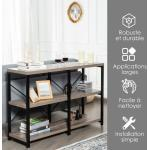 COSTWAY Table de Console à 3 Niveaux Large 120 CM, Style Industriel Table de canapé Strcucture en X robuste pour Salon, Couloir