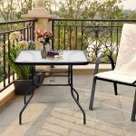 Costway Table de Jardin Carrée en Métal avec Plateau en Verre 81 x 81 x 71 CM de Style Moderne pour Terrasse Balcon et Cour Noir