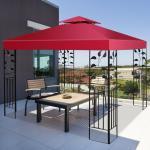 Costway Toile de Rechange en Polyester Impérméable de Jardin pour Pavillon Tonnelle Tente 3 x 3 M Rouge/Vert/Beige