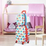 COSTWAY Valise 16'' à Roulettes + Sac à dos 12'' Valise Voyage Enfant Motif Eléphant