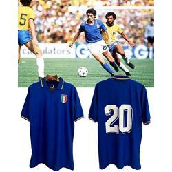 Coupe du monde Italie chemise Paolo Rossi, Paolo Rossi Italia Champion World Cup 1982 Jersey, n ° 20 Paolo Rossi T-Shirt Jersey Vintage Jersey Suit, T-Shirt de Football rétro Italie (M)