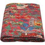 Couvre-lit matelassé en Coton Fait Main avec Motif Frida Kahlo Motif Kantha Art déco (Rouge, 152,4 x 228,6 cm)