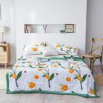 Couvre Lit Matelassée, Chickwin Doux Microfiber Couvre-lit Couverture de lit Jeté de Lit Dessus de Lit - Réversible Imprimé en Fruit (180x220cm,Orange Verte)
