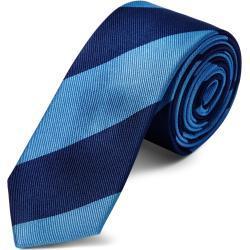 Cravate en soie à rayures bleu marine et bleu métal - 6 cm