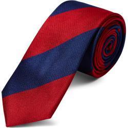 Cravate en soie à rayures rouge et marine - 6 cm