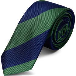 Cravate en soie à rayures verte et marine - 6 cm