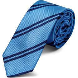 Cravate en soie bleue métal à rayures bleu marine - 6 cm
