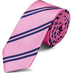 Cravate en soie rose à rayures bleu marine - 6 cm