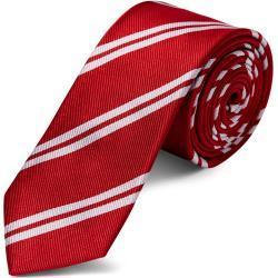 Cravate en soie rouge à rayures blanches