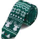 Cravate en tricot verte à motif de Noël