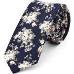 Cravate fleurie bleue et blanche
