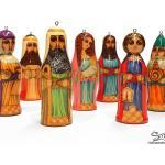 Crèche De Noël Nativité En Bois Peint 7 Santons. À Suspendre Au Sapin. Scène Religieuse. Wooden Christmas Crib Nativity   Réfcr3H