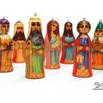 Crèche De Noël Nativité En Bois Peint 7 Santons. À Suspendre Au Sapin. Scène Religieuse. Wooden Christmas Crib Nativity | Réfcr3H