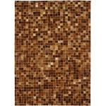 CUIR - Tapis en cuir motif mosaïque marron clair 160x230 - Marron clair
