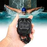 Cuzit PC70 Chronomètre portable 2 rangées 30 mémoires Chronomètre sport LCD électronique avec fonction alarme calendrier