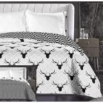 DecoKing Couvre-lit réversible Noir et Blanc Jeté de lit Facile d'entretien Cerf Noir Blanc Hypnosis Collection Deerest, Polyester, Noir/Blanc, 240 x 260 cm