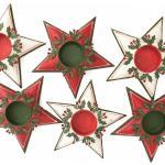 Décor Nordique Table Bougeoir Photophore Noël Bougies Chauffe-Plat Étoile Rouge Vert En Étain Vintage G&c Danemark Décoré À La Main