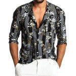 DEELIN Chemise Homme Manches Longues Florale Impression Boutonné Revers Ample Chemise Hawaïenne Homme Chemise de Plage D'été Top Shirt Casual Mode Grande Taille S-3XL