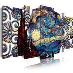 DekoArte 435 - Impression Sur Toile Moderne D'Images Artistiques Numérisées | Toile Décorative Pour Votre Salon Ou Votre Chambre | Style Art Abstrait Van Gogh La Nuit etoilée | 5 Pièces 200x100cm XXL