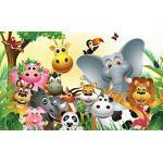 DELESTER DESIGN 693P8 Les Animaux Papier Peint pour Chambre d'Enfants Multicolore 368 x 254 cm