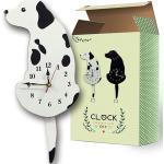Dessin Animé Acrylique Wagging Swinging Queue Chiot Chien Maison Café Boutique Décor Horloge Murale Ornement Prop Décorations Blanc
