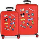 Disney Have a good day Mickey Set de Bagages Rouge 55/68 cms Rigide ABS Serrure à combinaison 104L 4 roues doubles Bagage à main