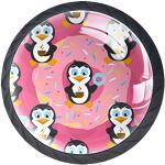 Donut pingouin dessin animé 4Pcs Boutons de Meuble Enfant pour Porte/Tiroir/Cabinet/Placard/Salle de Bain/Penderie/Cuisine/Armoires 3.5x2.8cm