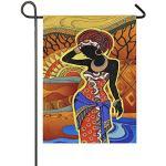 Drapeau de jardin géométrique coloré, motif femme africaine, double face, drapeaux verticaux, drapeaux pour fête, vacances, cour, décoration de maison, 30,5 x 45,7 cm, multicolore, 12x18 inches