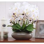 DSAAA Accueil Bouquets Fleur fausse Décoration Vases en céramique Pot de fleurs artificielles Orchidée White B