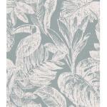DUTCH WALLCOVERINGS Papier peint Rebecca Gris et blanc