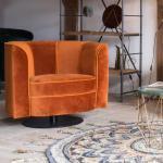 Dutchbone Flower Fauteuil, l : 860 H : 760 P : 740 mm, noir/orange 3100045