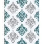 EDEM 85024BR25 Papier peint baroque accents métalliques blanc turquoise 5,33 m2