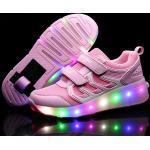 Eleyooner Chaussures Propel Enfant Fille Garçon Baskets À Roulette Led Skate Chaussures De Maille Lumineuse Sneakers Avec Roues Antidérapante