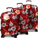 Ensemble 3 valises rigides Airtex Vintage Roses Bordeaux rouge