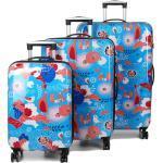 Ensemble 3 valises rigides Snowball Flowers & Birds Bleu
