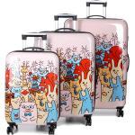 Ensemble 3 valises rigides Snowball Les petits animaux Rose